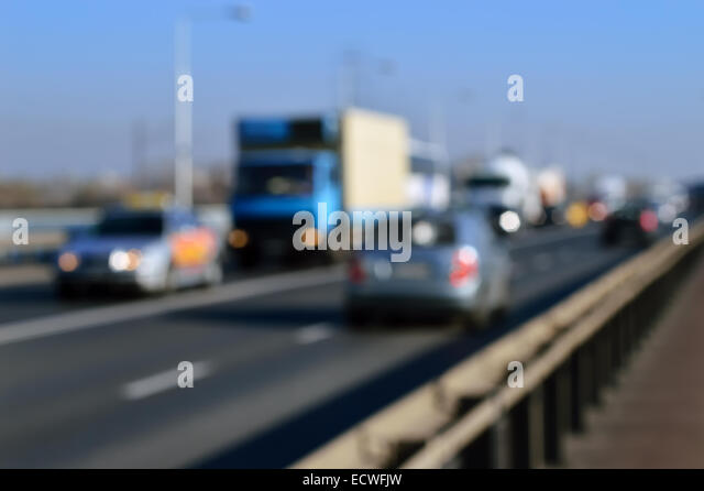 Car Driving On Road In City Background, Motion Blur Stock Photo ...