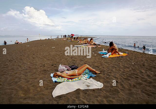 Reunion Island Black Sand Beach Stock Photos & Reunion ...