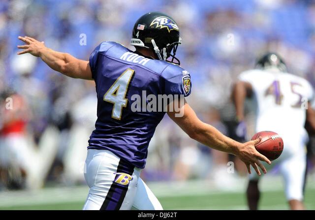 august 07 2010 baltimore ravens punter sam koch 4 in action during