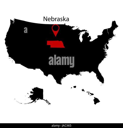Nebraska Map Us Globalinterco - Us map black and white simple for 1850