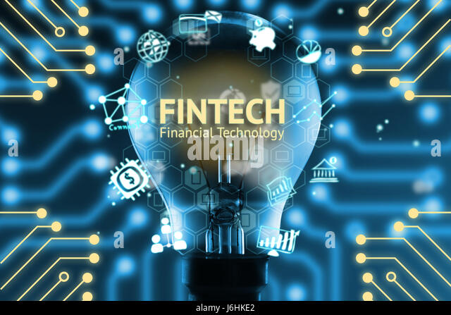 Fintech concept . Icons of financial technology and bank . Light bulb , Infographic , texts and icons. Electric - Stock Image