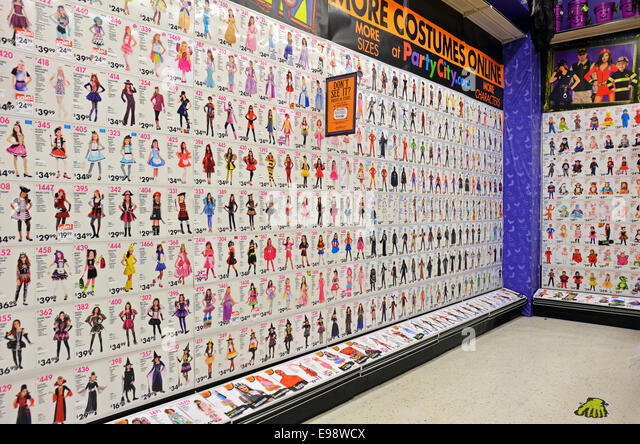 display of halloween costumes for sale at the party city store in greenwich village manhattan - Halloween Stores Ny