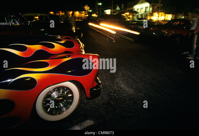 street hot rods flames whitewall tires stock image