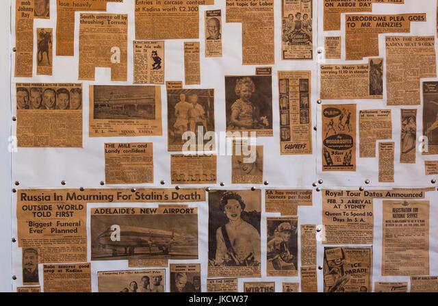 Australia, South Australia, Yorke Peninsula, Kadina, Farm Shed Museum, one room school, antique newspaper clippings - Stock Image