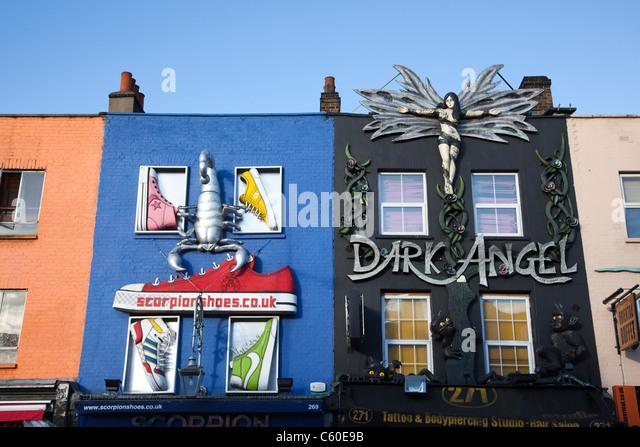 Dr martens in union jack camden high street camden town nw1 stock - England London Camden Colourful Shop Stock Photos