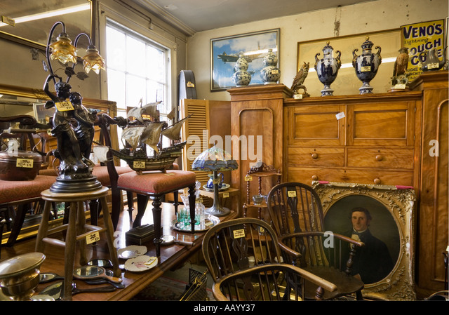 Antiques Store Interior England UK   Selling Antique Furniture And  Ornaments   Stock Image