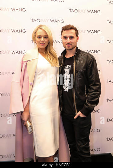 New York, USA. 11th Feb, 2017. Tiffany Trump and her boyfriend Ross Mechanic pose for a photo at the backstage before - Stock Image