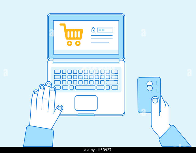 Online payment concept hand holding credit card and shopping cart on