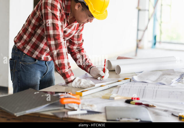 Architect Engineer Project Manager Or Owner Business Working At Office Desk Hands Close