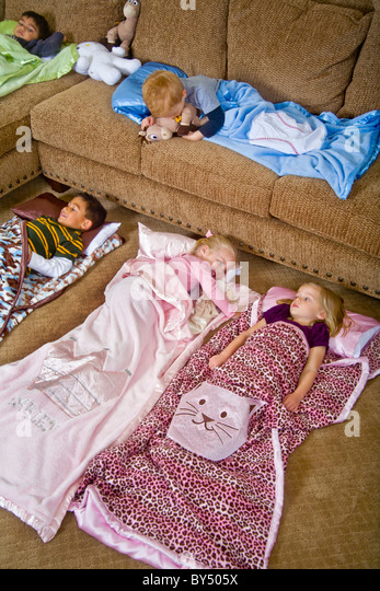 Children Bed Down For A Sleepover In Special Junior Size Sleeping Bags Southern California