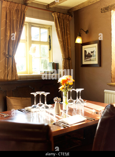 Fancy restaurant interior window stock photos