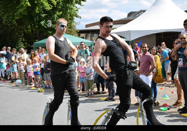 Street entertainment as part of the Mayor's Festival celebration, Norwich UK July 2017 - Stock Image