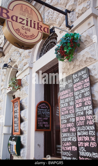 Borsod Brewery Mail: Restaurant Sign Budapest Hungary Stock Photos & Restaurant