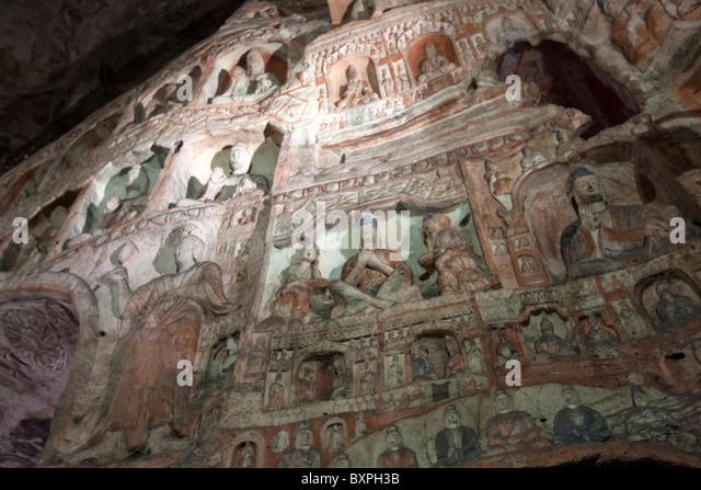 Yungang caves buddha stock photos