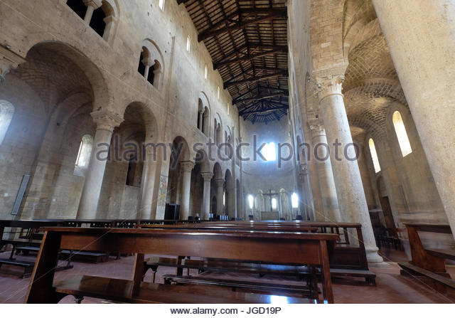 Interior of the abbey of SantAntimo, Montalcino,Tuscany - Stock Image