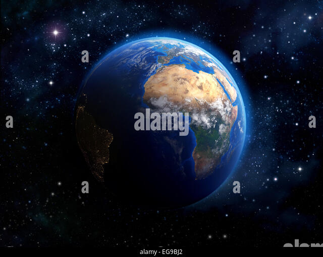 Earth from space africa stock photos earth from space for Outer space elements