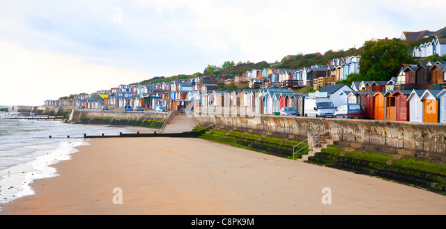 Beach Huts Along The Seafront At Frinton Stock Image