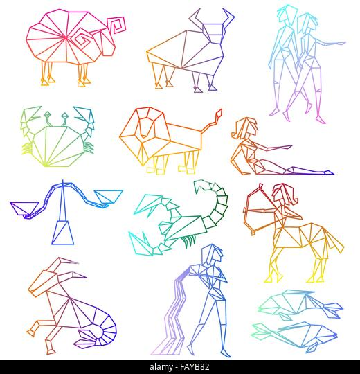 Zodiac Line Drawing : Horoscope signs stock photos
