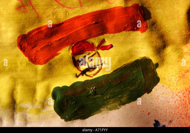 Graffiti made of an Indian flags and Ashoka chakkar as a pirate ...