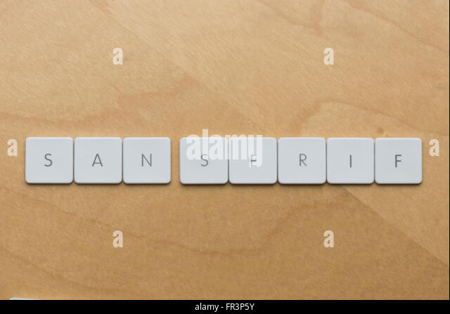 keyboard letters spell san serif a type of font without embellishment stock image