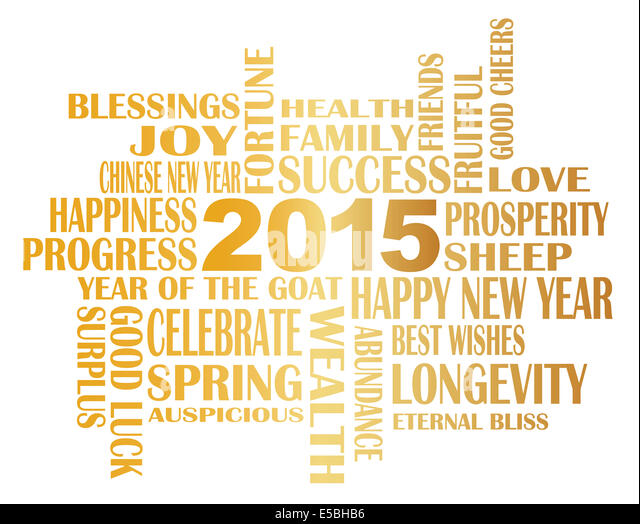 Chinese new year sayings cut out stock images pictures alamy 2015 chinese lunar new year english greetings text wishing health good fortune prosperity happiness in the m4hsunfo
