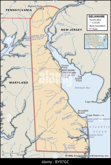 Delaware State Map Stock Photos Delaware State Map Stock Images - New jersey physical map