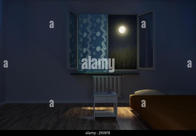 children s room at night in front of moonlight   Stock Image. Bedroom Night Moonlight Stock Photos   Bedroom Night Moonlight