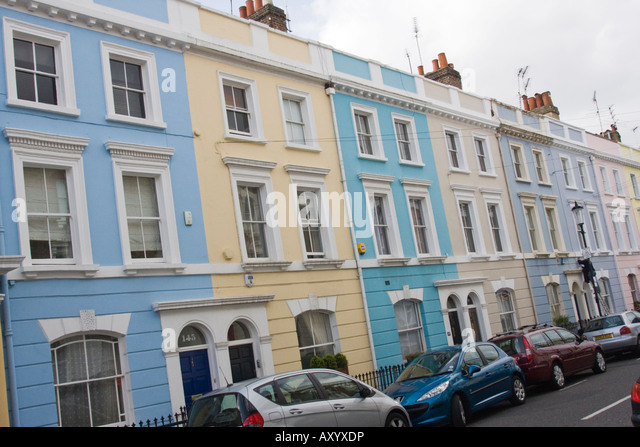Captivating Colourful Terraced Houses In Portland Road Kensington And Chelsea London  W11   Stock Image