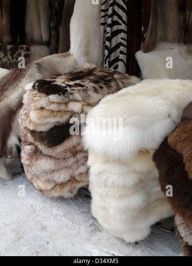 Awesome Fur Rugs For Sale At The Zakopane Market, Poland.   Stock Image