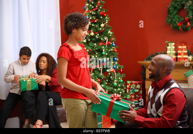 Black Kids Opening Christmas Presents