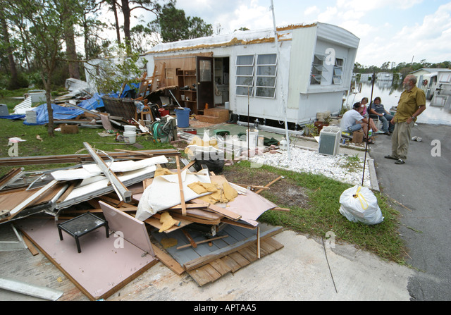 Florida Fort Pierce Hurricane Jeanne Damage Trailer Mobile Home Park Residents
