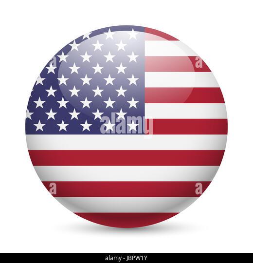 America Flag Usa American Button Sign Badge Symbol Icon Web Stock