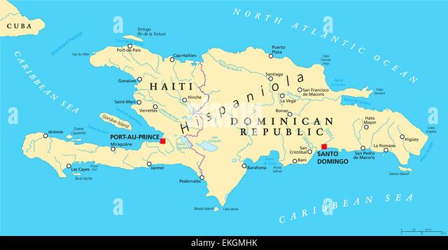 Dominican republic map stock photos dominican republic map stock hispaniola political map with haiti and dominican republic stock image gumiabroncs Choice Image