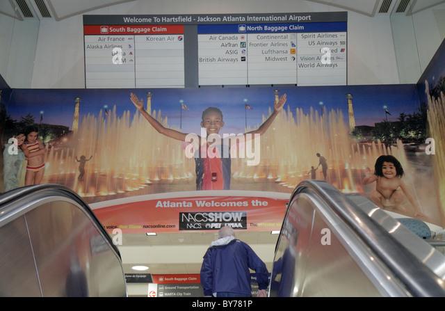 atlanta georgia atl hartsfield jackson atlanta international airport terminal concourse sign directions baggage stock