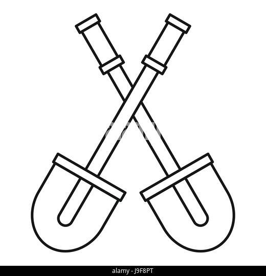 shovel tool isolated icon stock photos shovel tool isolated icon Edging Spade Shovel two shovels icon outline style stock image