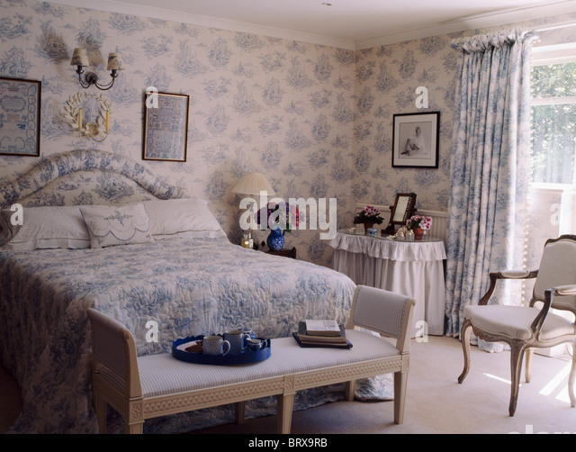 Curtains Ideas curtains matching wallpaper : Blue White Wallpaper Matching Curtains In Stock Photos & Blue ...