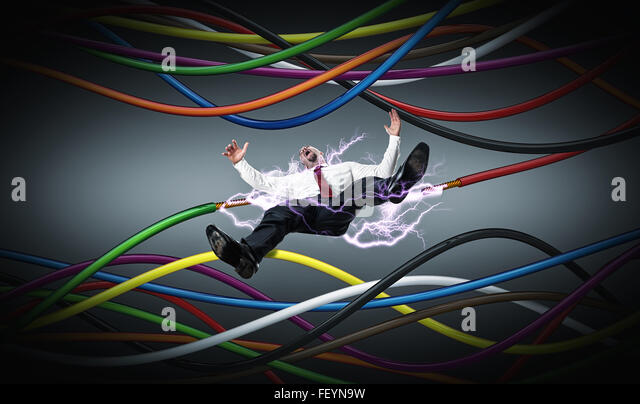 Falling Businessman And Electric Cable With Spark
