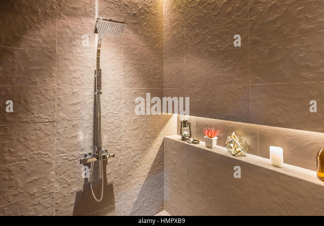 Interior Of Modern Shower Head In Bathroom At Home.Modern Design Of  Bathroom.