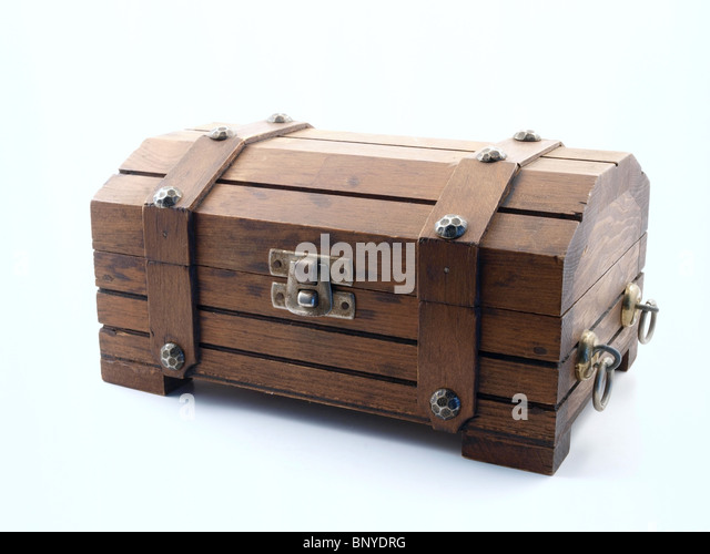 vintage wooden toy treasure chest with rusty latch stock image