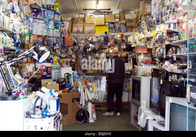 tv repair shop. abba electronics tv repair and home appliances shop, kentish town london - stock image tv shop