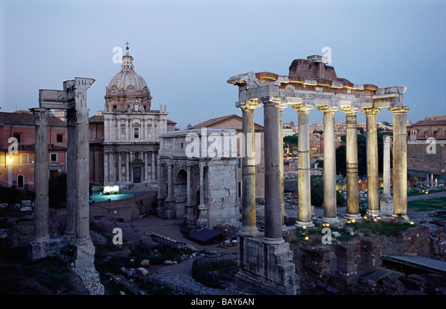 Temple Of Saturn And Forum Romanum In Rome, Italy Stock Photo ...