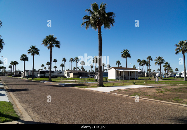 Wide Angle Shot Of A Mobile Home And RV Resort In South Texas
