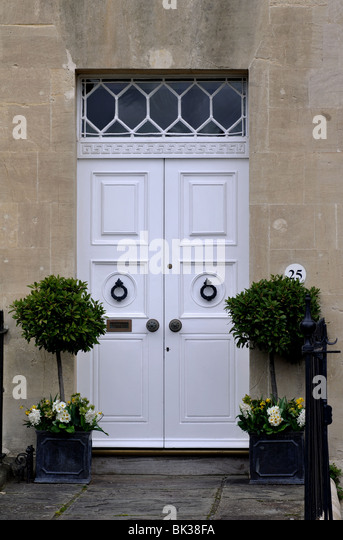 Front Door In The Royal Crescent, Bath, Somerset, England, UK   Stock