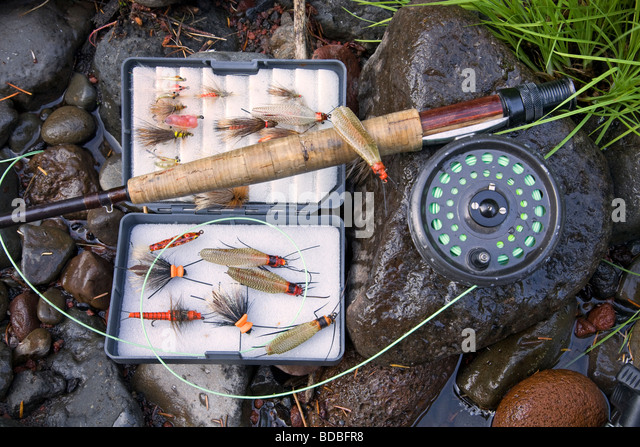 Salmon flies stock photos salmon flies stock images alamy for Used fly fishing gear for sale