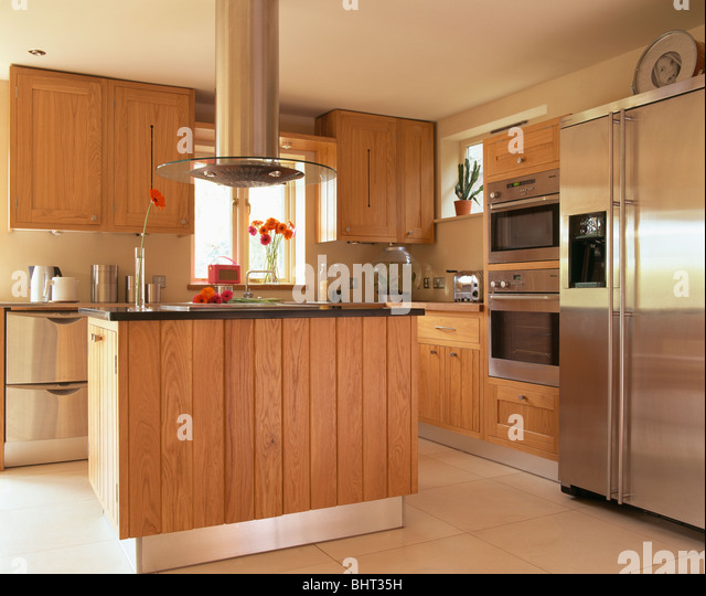 Island Units For Kitchens: Stainless Steel Fridges Stock Photos & Stainless Steel