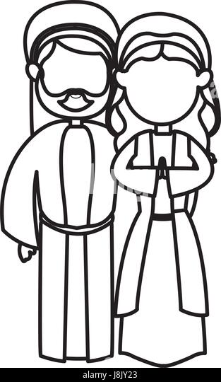 outlined couple virgin mary and joseph nativity image stock image