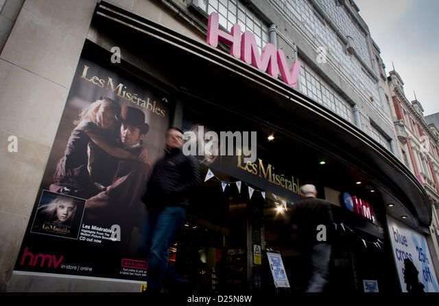 Hmv stock photos hmv stock images alamy london uk 15th january 2013 hmv the music and film retailer has been gumiabroncs Images