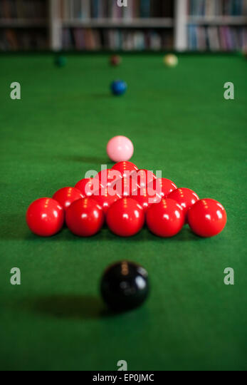 Snooker Table Set Up For A Game   Stock Image
