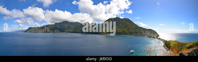 panorama of scotts head, dominica, caribbean - Stock Image