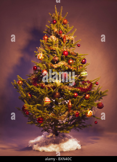 Real Christmas Tree Decorated Stock Photos Background